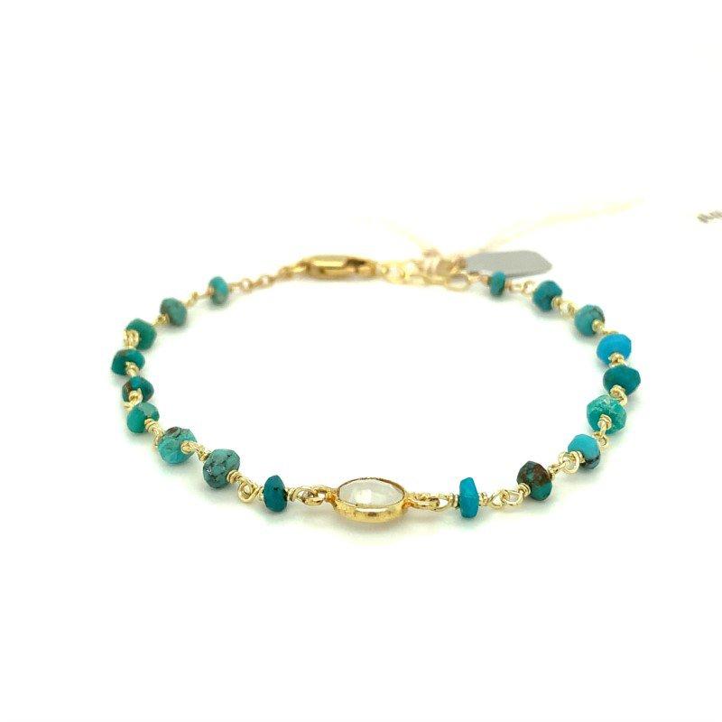 ela rae new york city Dayna Turquoise and Moonstone Bracelet