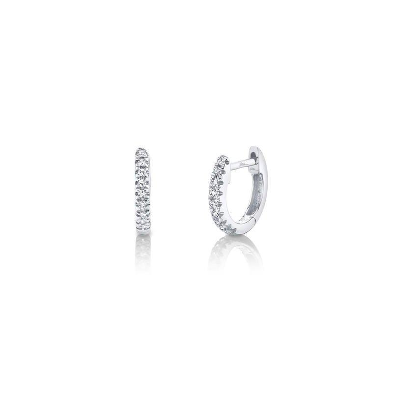 Shy Creation Kate Collection Mini .04 Carats Diamond Huggie Earrings