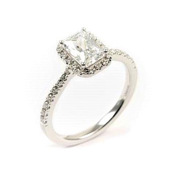 Diamond Halo Emerald Cut Engagement Ring