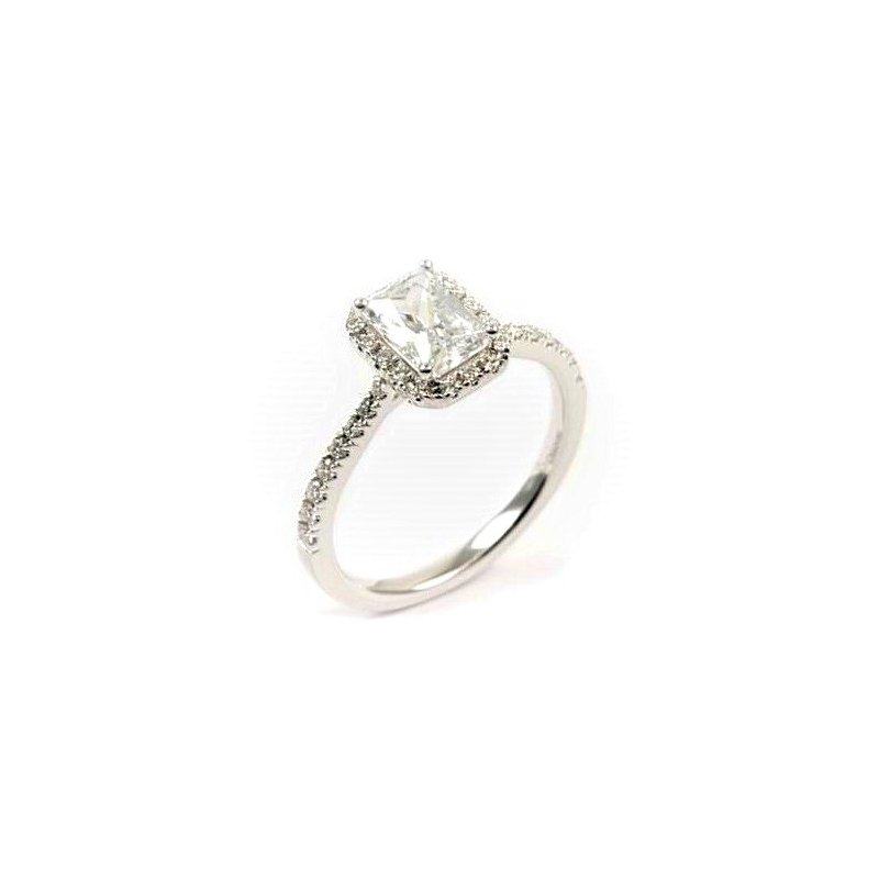 Diadori (Cheri Dori) Diamond Halo Emerald Cut Engagement Ring