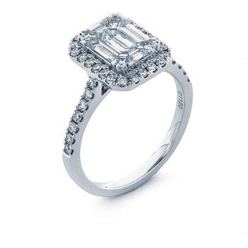 Emerald & Baguette Cut Diamond Halo Engagement Ring