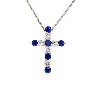 Round Diamond & Sapphire Pendant