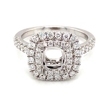 Diamond Cushion Shape Double Halo Engagement Ring