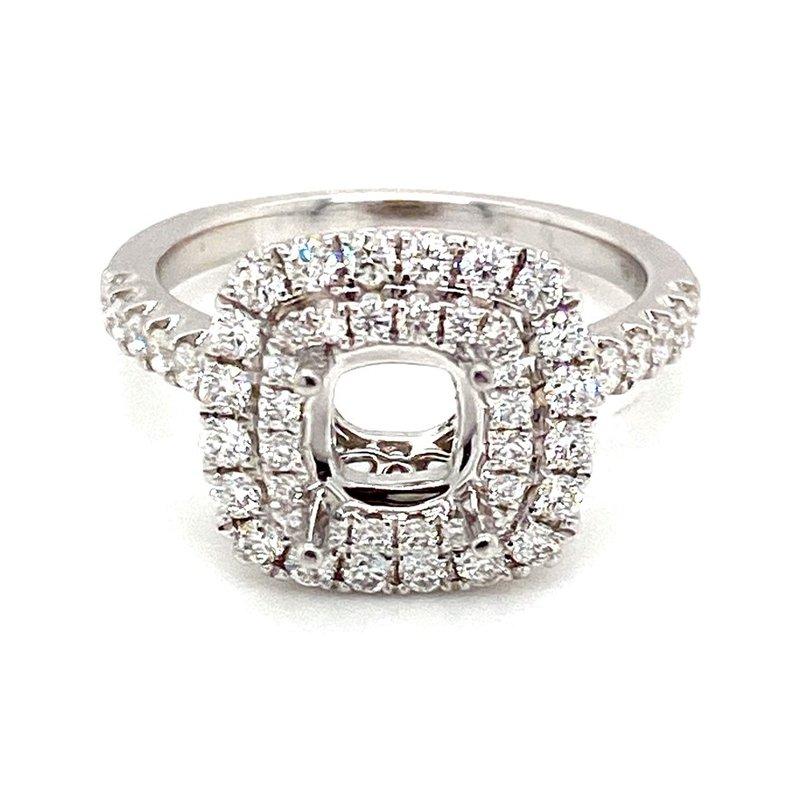 Murphy Pitard Signature Collection Diamond Cushion Shape Double Halo Engagement Ring