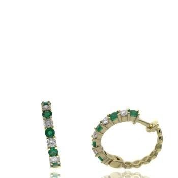 Emerald & Diamond Medium Hoop Earrings