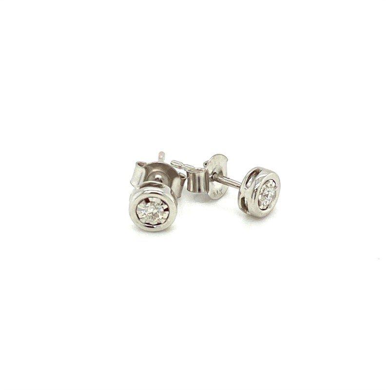 Murphy Pitard Signature Collection Diamond 1/10 Carats Bezel Stud Earrings