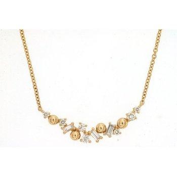 Diamond & Baguette Diamond Curved Bar Necklace