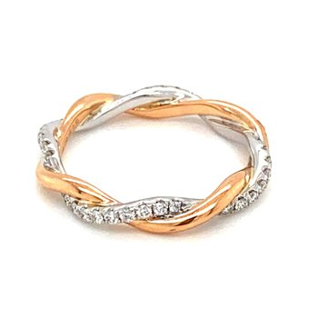 Two Tone Twisted Diamond Eternity Anniversary Band