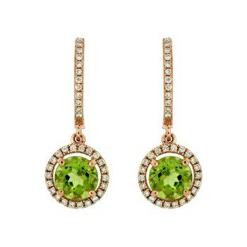 Peridot & Diamond Halo Dangle Earrings