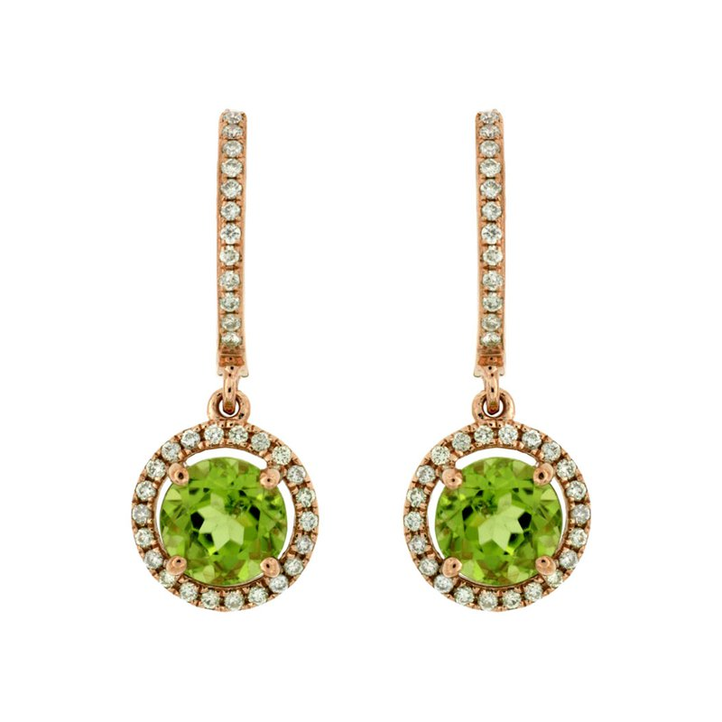 Murphy Pitard Signature Collection Peridot & Diamond Halo Dangle Earrings