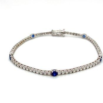 Round Sapphire & Diamond Tennis Bracelet