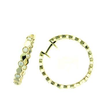 Diamond Hexagon Inside Out Medium Hoop Earrings