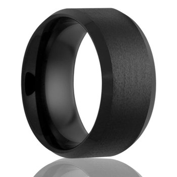 Men's Black Diamond Ceramic Wedding Band, Size 8.5
