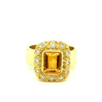 AA Quality Citrine & Diamond Halo Fashion Ring
