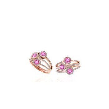 Diamond and Pink Sapphire Split Band Halo Ring