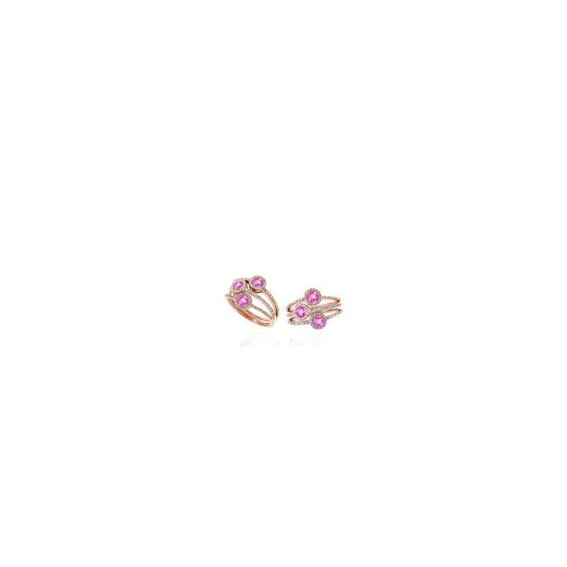 Murphy Pitard Signature Collection Diamond and Pink Sapphire Split Band Halo Ring
