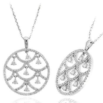 Diamond Open Circle Fringe Pendant Necklace