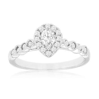 Diamond Pear & Round Diamond Engagement Ring