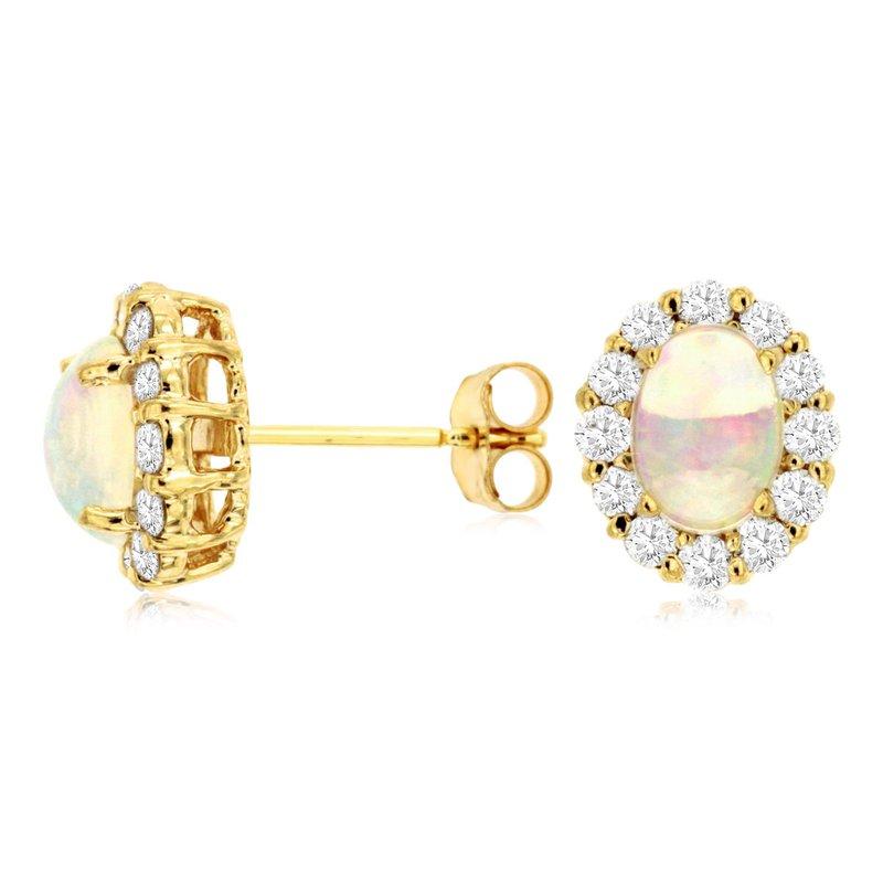 Murphy Pitard Signature Collection Opal & Diamond Halo Stud Earrings