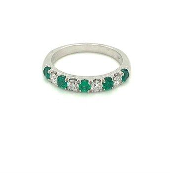 Emerald & Diamond Stackable Band