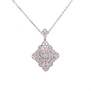 Diamond Vintage Inspired Pendant Necklace