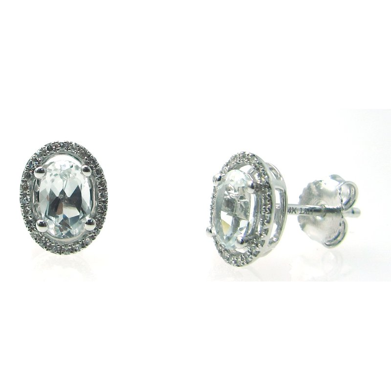 Murphy Pitard Signature Collection White Topaz & Diamond Halo Stud Earrings