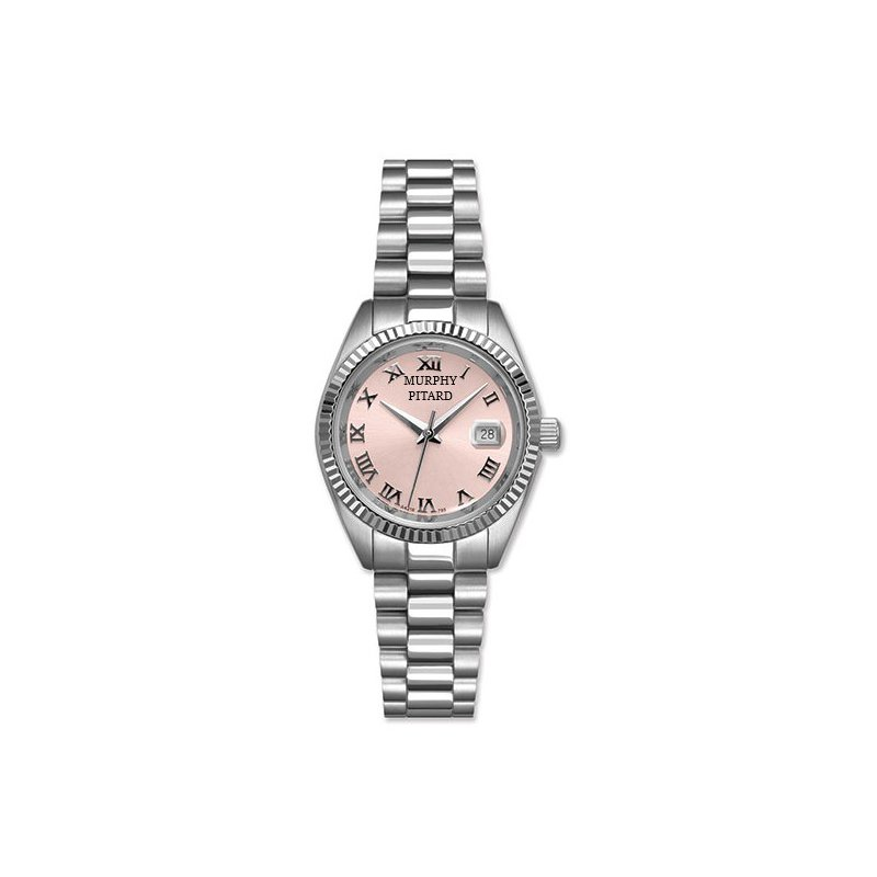 Murphy Pitard Signature Collection Murphy Pitard 30 Millimeter Stainless Steel Watch with Pink Mother of Pearl Dial