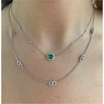 Diamond Halo Emerald Necklace