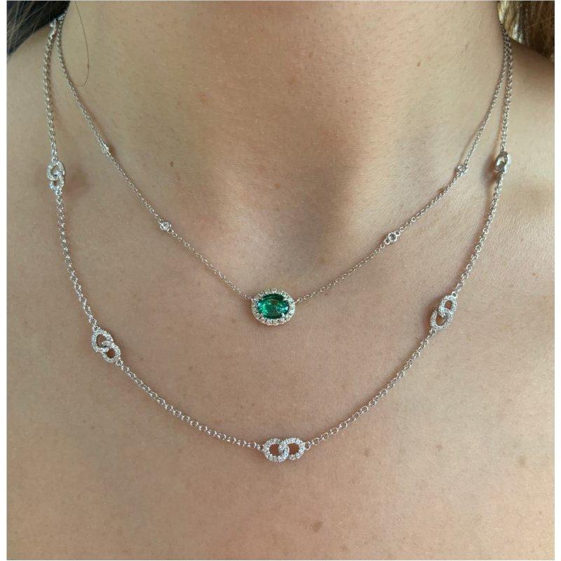 Murphy Pitard Signature Collection Diamond Halo Emerald Necklace