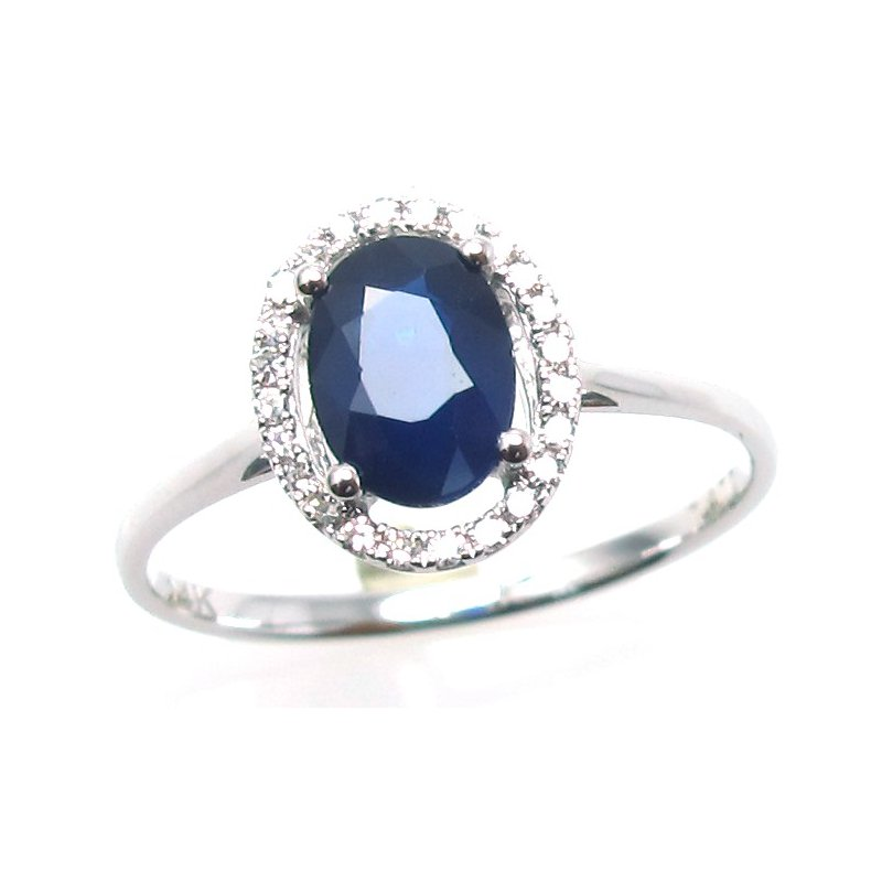 Murphy Pitard Signature Collection Blue Sapphire & Diamond Halo Ring