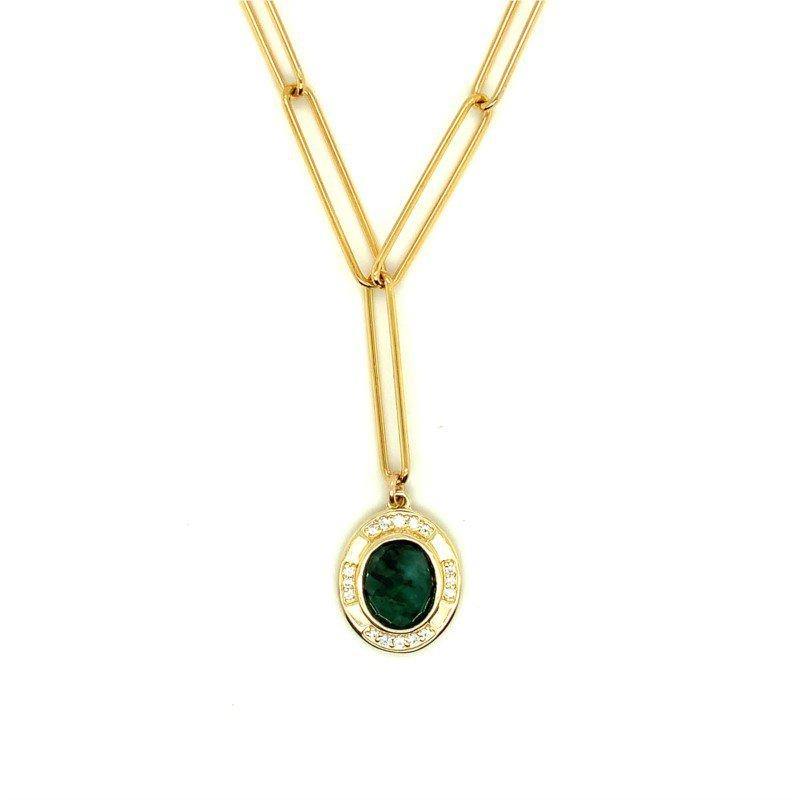 ela rae new york city Lara Raw Emerald Gemstone Necklace