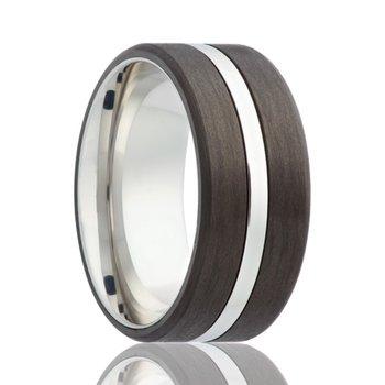Cobalt Chrome Carbon Fiber Wedding Band, Size 9.5
