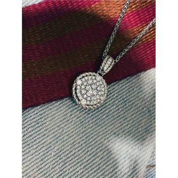 Round Pavé Diamond Pendant With Rope Accent