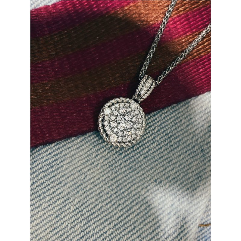 Murphy Pitard Signature Collection Round Pavé Diamond Pendant With Rope Accent