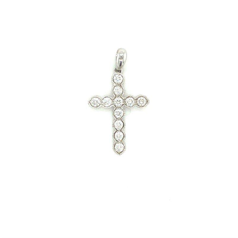 Murphy Pitard Signature Collection Milgrain Diamond Cross Pendant