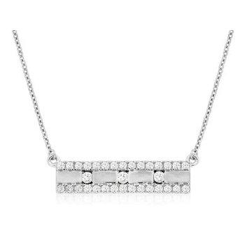 Diamond 1/3 Carats Satin Bar Necklace