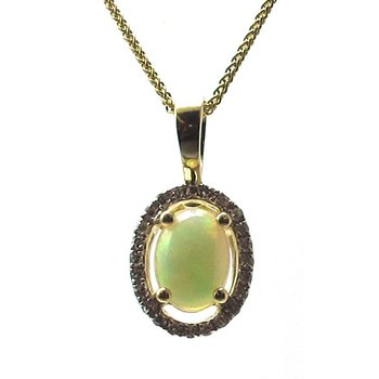 Opal & Diamond Halo Pendant Necklace