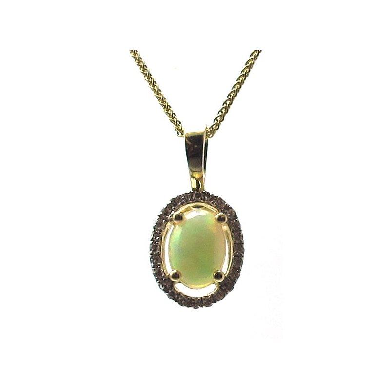 Murphy Pitard Signature Collection Opal & Diamond Halo Pendant Necklace