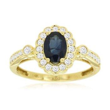 Oval Sapphire & Diamond Halo Fashion Ring