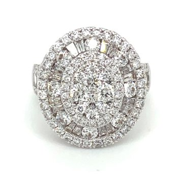 Diamond & Baguette Diamond Oval Fashion Thee Tier Ring