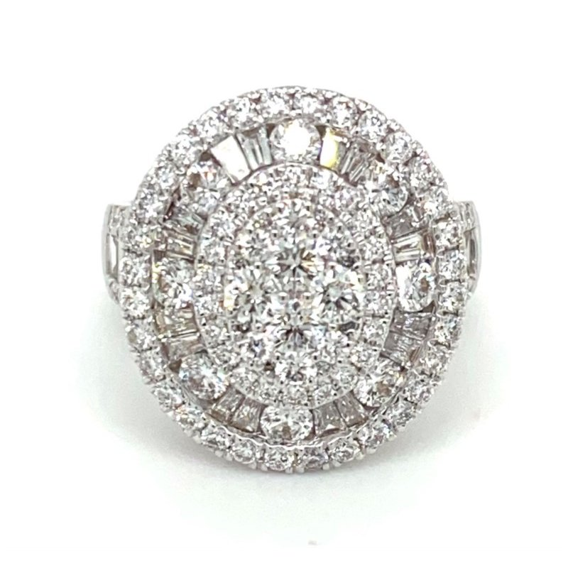 Murphy Pitard Signature Collection Diamond & Baguette Diamond Oval Fashion Thee Tier Ring