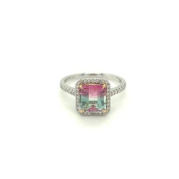 Watermelon Tourmaline Diamond Halo Ring