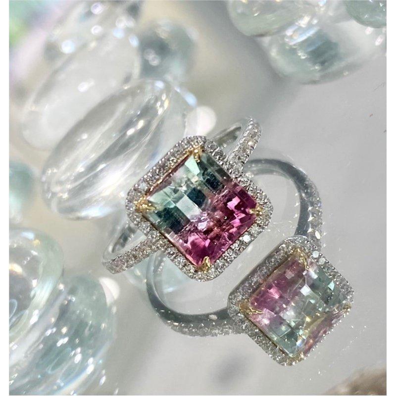 Murphy Pitard Signature Collection Watermelon Tourmaline Diamond Halo Ring