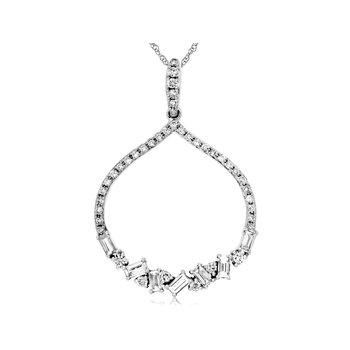 Diamond & Baguette Diamond Dangle Pendant Necklace