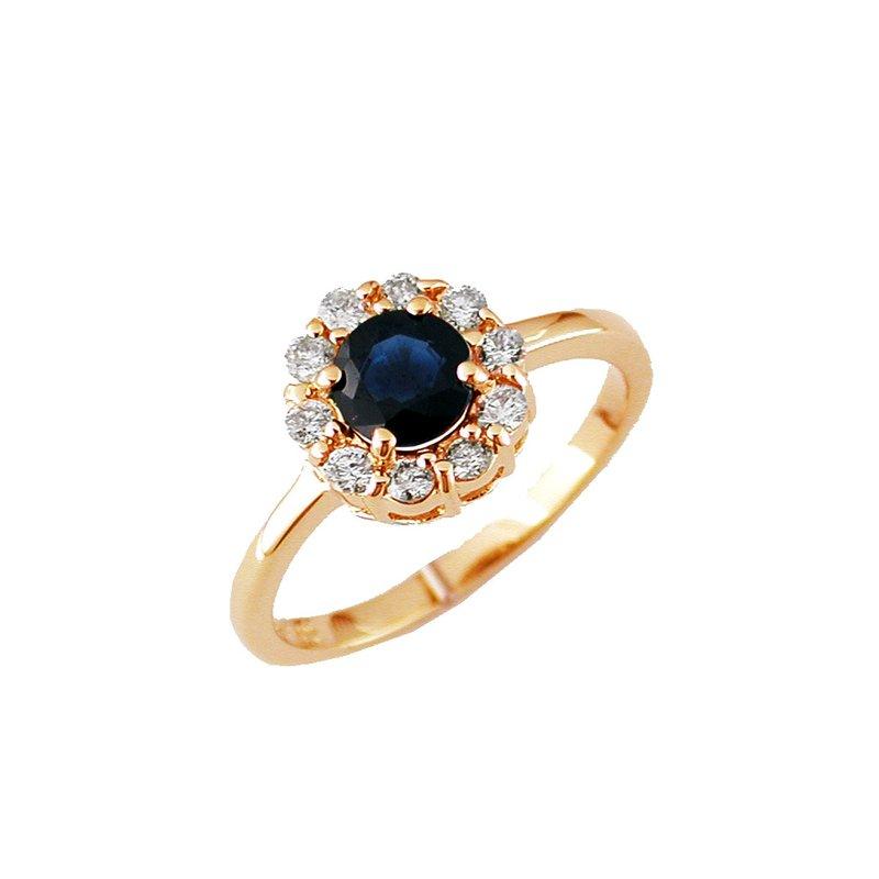 Murphy Pitard Signature Collection Diamond Halo Blue Sapphire Ring
