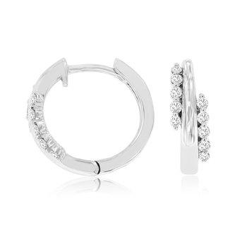 Diamond & High Polish Small Hoop Earrings