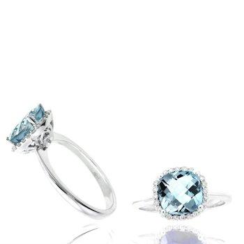 Cushion Aquamarine & Diamond Halo Ring