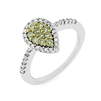 Yellow Diamond Cluster Halo Ring