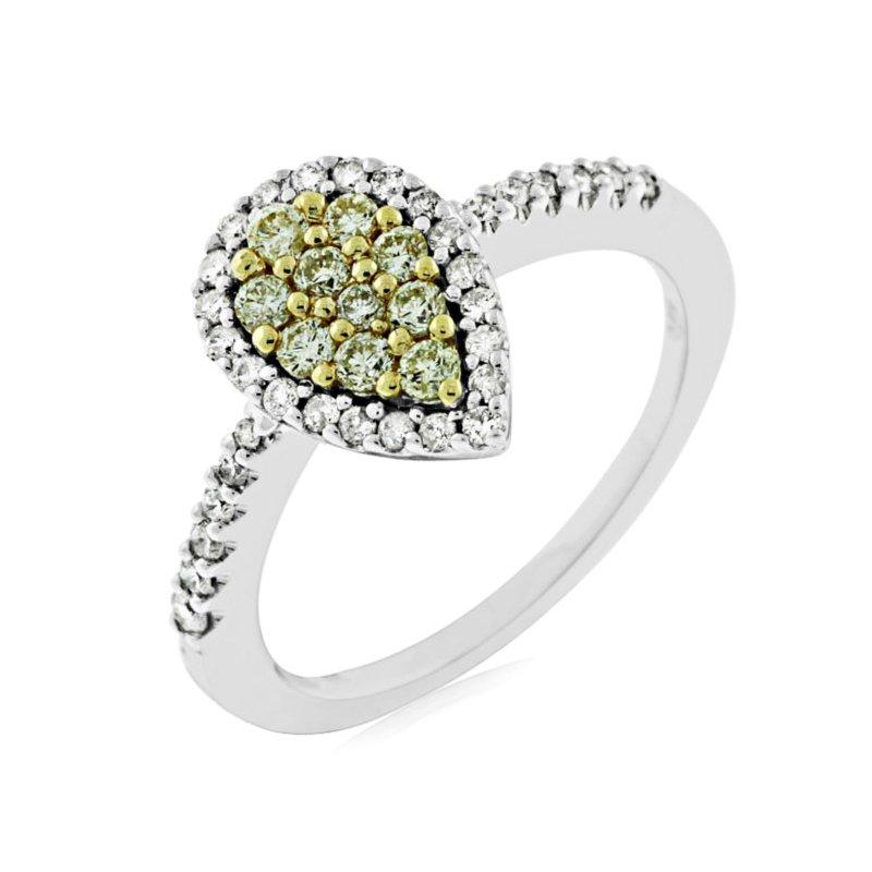 Murphy Pitard Signature Collection Yellow Diamond Cluster Halo Ring