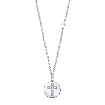 Diamond Cross Disc Pendant Necklace